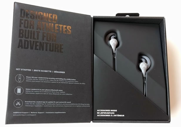 This shows the packaging of the Jaybird X4 earphones - when opened.